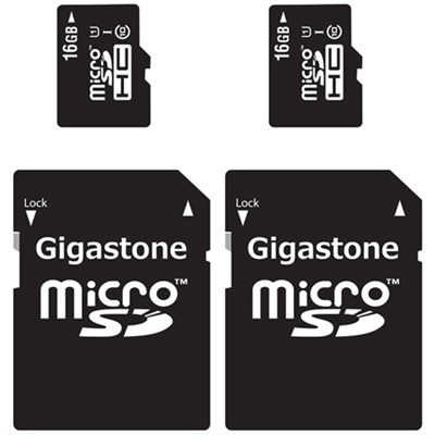 MicroSD HC 16GB C10 U1 With SD Adapter 2-Pack Bundle