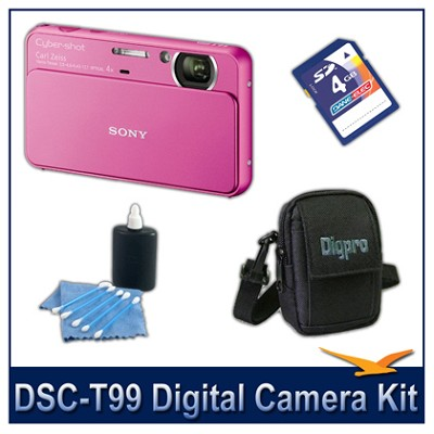 DSC-T99 14MP Pink Touchscreen Digital Camera with 4GB Card, Case, and more