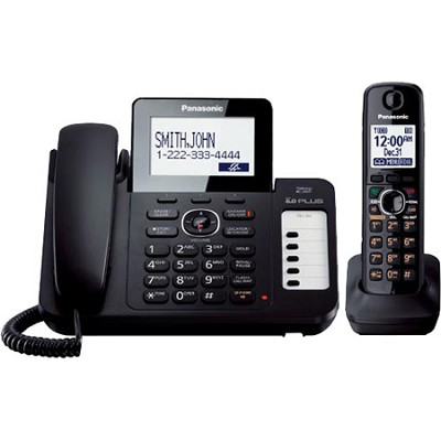 KX-TG6671B Expandable Corded Answering System with Large LCD, 1 Cordless Handset