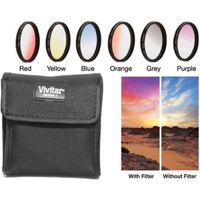 55mm Graduated Color Multicoated Six Piece Filter Set with Fold-Up Filter Pouch