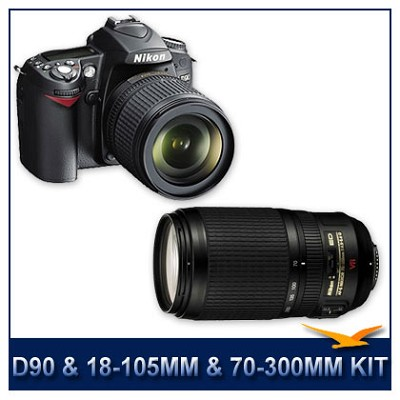 D90 DX-Format Digital SLR Camera Kit w/ 18-105mm & 70-300mm lenses