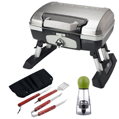 Petit Gourmet Portable Tabletop Gas Grill, Stainless Steel with BBQ Bundle