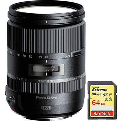 28-300mm F/3.5-6.3 Di VC PZD Lens for Canon w/ Lexar 64GB Class 10 Memory Card