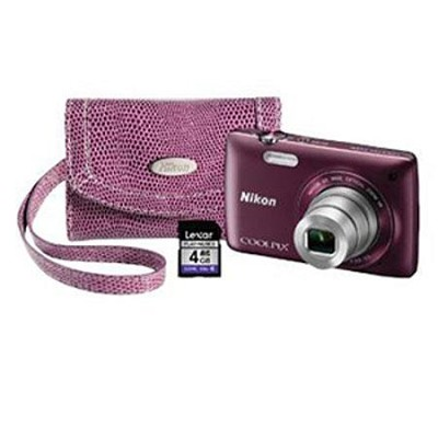 COOLPIX S4300 16MP 3` Touch Screen Digital Camera - Purple Mother's Day Bundle