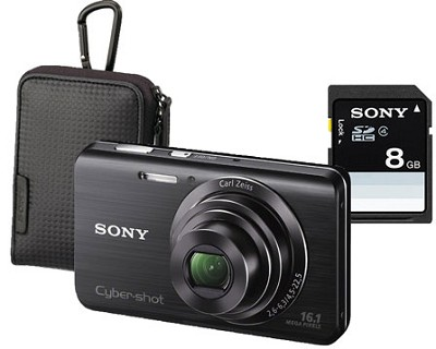Cyber-shot DSC-W650 16.1 MP Compact Digital Camera Kit w/ Sony Case and 8GB Card
