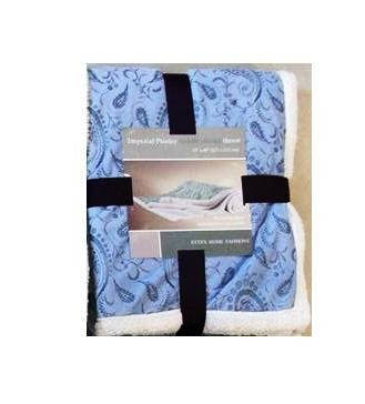 Cudly Sherpa Plush Throw - Blanket 50` X 60` (Light Blue) Imperial Paisley
