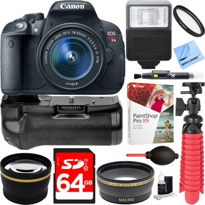 T5i EOS Rebel DSLR Camera w/ EF-S 18-55mm Lens + Battery Grip & 64GB Memory Kit