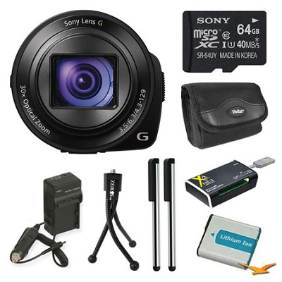 DSC-QX30/B Lens Style Camera 64GB Bundle