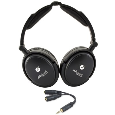 Foldable Active Noise Canceling Headphones Speaker and Headphone Splitter Bundle