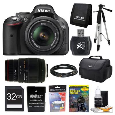 D5200 DX-Format Digital SLR Camera 18-55mm And Sigma 70-300 VR Lens 32GB Bundle
