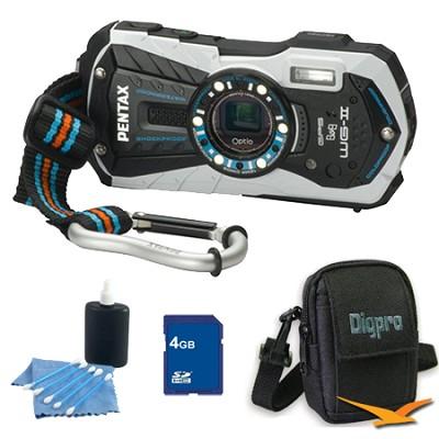 Optio WG-2 Waterproof Digital Camera - White 4 GB Bundle