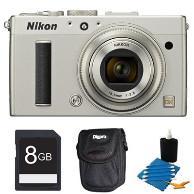 COOLPIX A 16.2 MP Digital Camera with 28mm f/2.8 Lens Silver Deluxe Gift Pack