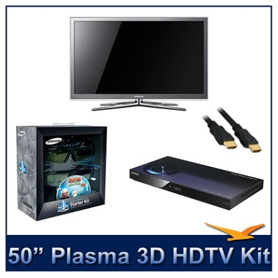PN50C8000 - 50` 3D 1080p Plasma HDTV Kit w/ 3D Glasses & Blu-Ray Player