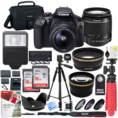 T6 EOS Rebel DSLR Camera EF-S 18-55mm f/3.5-5.6 IS II Lens 16GB Memory x2 Bundle