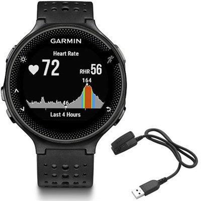 Forerunner 235 GPS Sport Watch - Black/Gray - Charging Clip Bundle