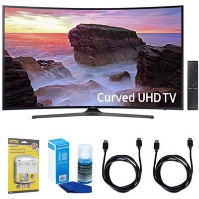 Curved 55` 4K Ultra HD Smart LED TV (2017 Model) w/ Accessories Bundle