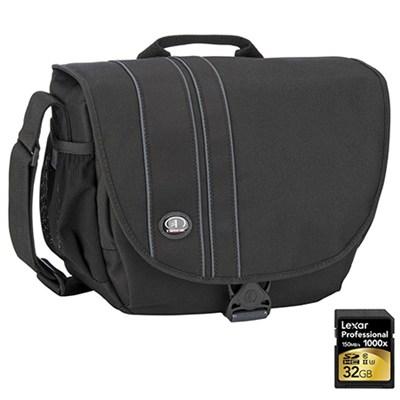 Rally 5 Camera/iPad Shoulder Bag (Black) Includes Lexar 32GB Memory Card