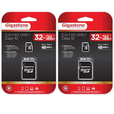 MicroSD HC 32GB C10 U1 With SD Adapter 2-Pack Bundle