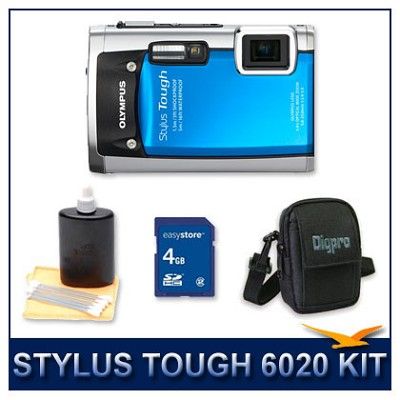 Stylus Tough 6020 Waterproof Shockproof Digital Camera (Blue) w/ 4 GB Memory