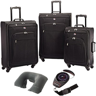 Pop Plus 3 Piece Nested Spinner Luggage Set Black 64590-1041 w/ Travel Kit