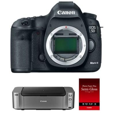 5D Mark III DSLR Camera (Body) + Pro 100 Printer, 50-Pack Paper