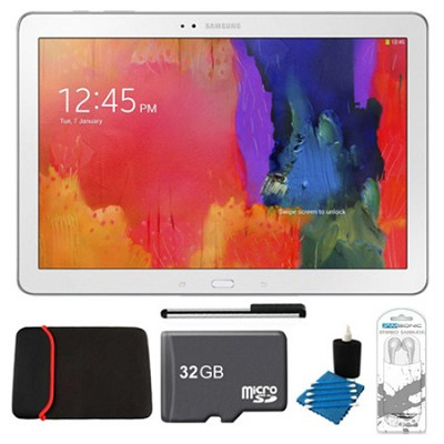 Galaxy Note Pro 12.2` White 64GB Tablet, 32GB Card, Headphones, and Case Bundle