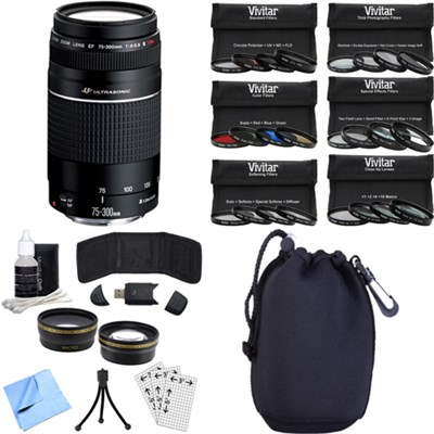 EF 75-300mm  F4-5.6 III Lens with Canon USA Warranty Photography Bundle