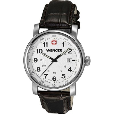 Men's Urban Classic Swiss Army Watch - Silver Sunray Dial/Brown Leather Strap