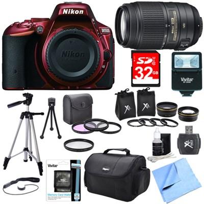 D5500 Red Digital SLR Camera, 55-300 Lens, Lens Set, and Flash Bundle