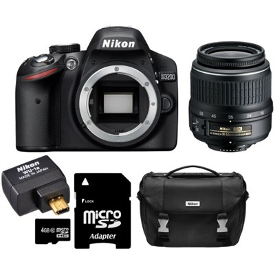 D3200 24.2 MP 1080p DX-format Digital SLR - Refurbished Bundle