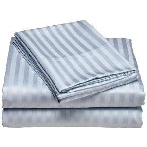 Luxurious 400 Thread Count Woven Cotton Sateen Sheet Set - Light Blue (Queen)
