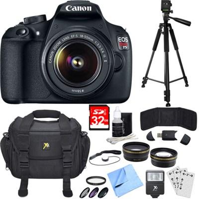 EOS Rebel T5 18MP DSLR Camera & EF-S 18-55mm IS II Ultra 3 Lens Bundle w/ Flash