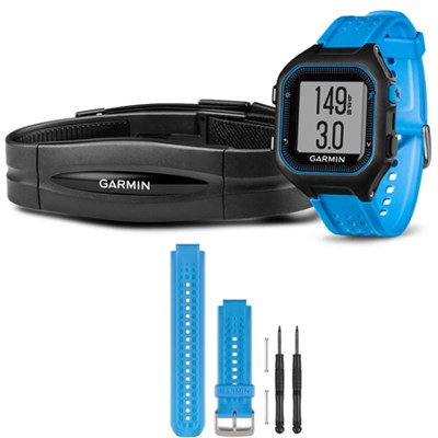 Forerunner 25 GPS Fitness Watch w/ Heart Rate Monitor Large Blue - Blue Bundle