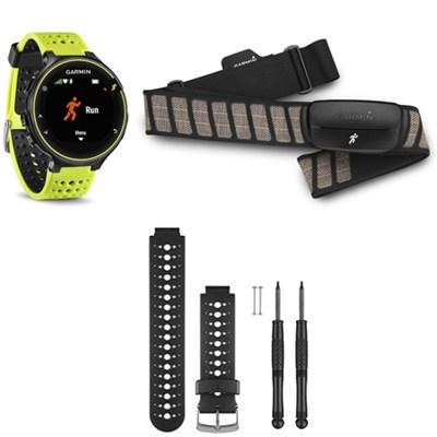 Forerunner 230 GPS Running Watch w/ Heart Rate Monitor - Black/White Band Bundle