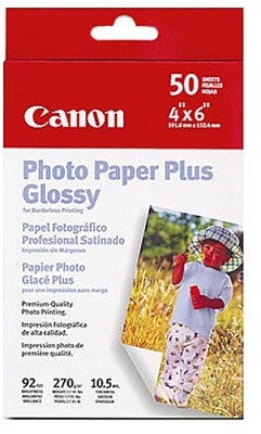Photo Paper Plus Glossy Borderless 4` X 6` - 50 Sheets