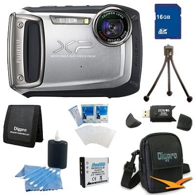 Finepix XP100 14MP CMOS Digital Camera 16 GB Bundle (Silver)