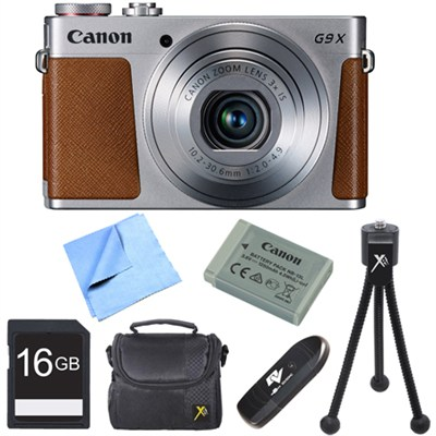 PowerShot G9 X Digital Camera with 3x Optical Zoom 16GB Bundle - Silver