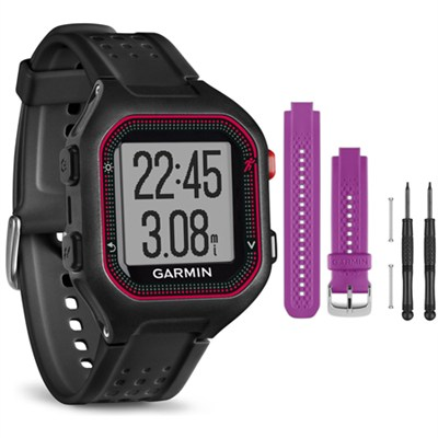 Forerunner 25 GPS Fitness Watch - Large - Black/Red - Purple Band Bundle