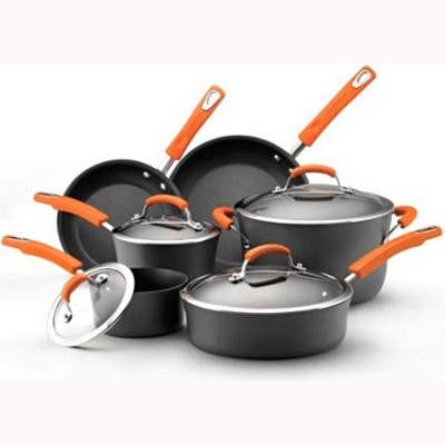 Hard Anodized II Nonstick Dishwasher Safe 10-Piece Cookware Set, Orange (87375)